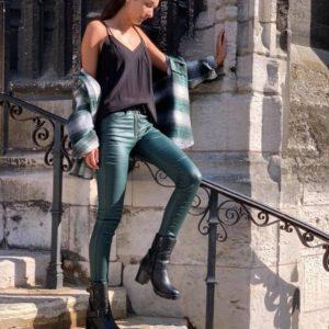 """Pantalon huilé """"zip/boutons"""" vert - Jade & Lisa"""