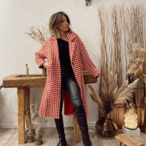 Manteau l'on pied-de-poule rouge jade et lisa