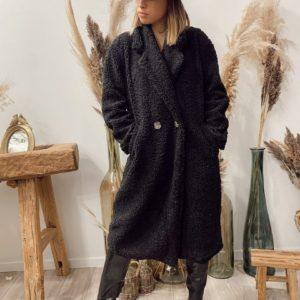 Manteau bouclette noir de la boutique jade et lisa