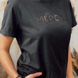 Tshirt MERCI Noir Grâce&Mila - Jade & Lisa