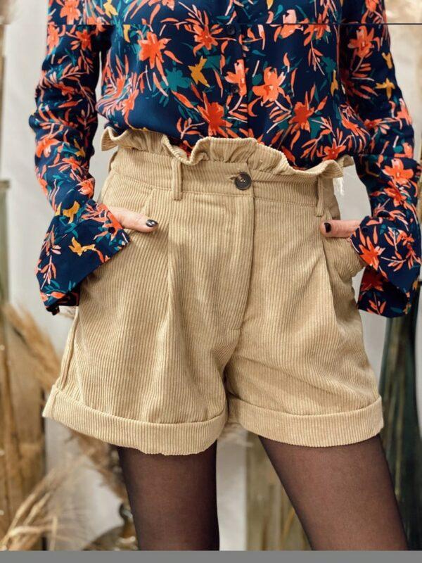 Short velours côtelé beige Jade&Lisa