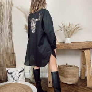 Robe chemise tête de buffle noire