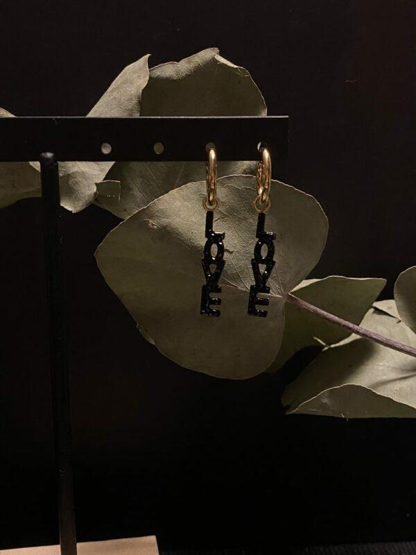 Boucles d'oreilles Love noire jade et lisa