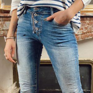 Jeans zip / boutons jade et lisa