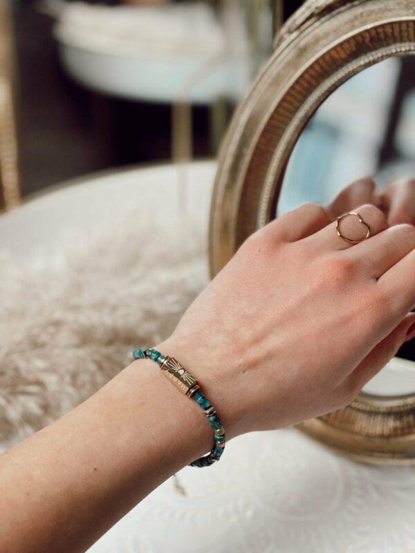 Bracelet perle verte jade et lisa