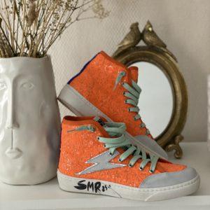 Baskets sequins orange montantes SMR jade et lisa