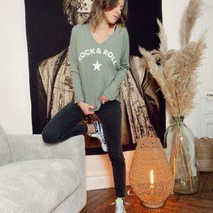T-shirt «ROCK N ROLL» kaki JADE ET LISA