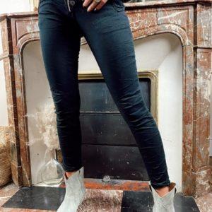 Jeans zip / bouton noir jade et lisa