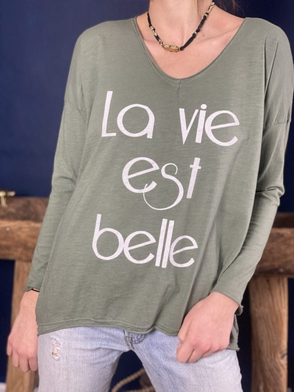 "Tshirt manches longues ""La vie est belle"" kaki - Jade & Lisa"