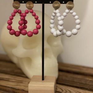 Boucles d'oreilles «Elsa» rose ou blanches Jade et lisa