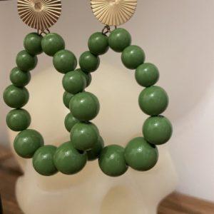 Boucles d'oreille Elsa oranges et vertes jade et lisa
