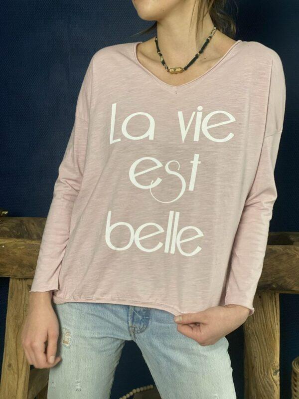 """Tshirt manches longues """"La vie est belle"""" rose - Jade & Lisa"""
