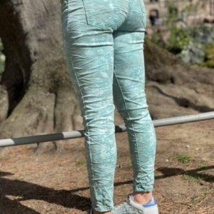 Jeans zip/bouton bleu/vert tie&dye - Jade & Lisa