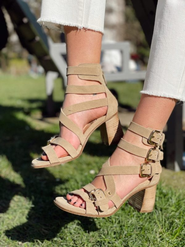 Sandales SMR à brides beige Jade et lisa