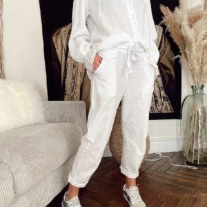 Pantalon léger blanc jade et lisa