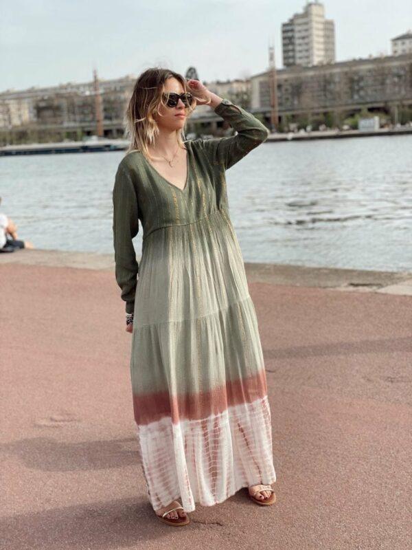 Robe dégradée kaki/rose Sonia