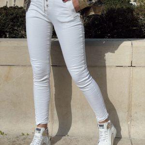 Jeans zip bouton blanc jade et lisa