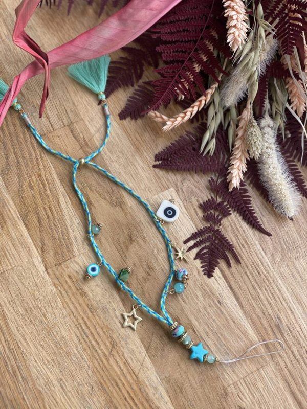 Dragonne «breloque» bleue turquoise jade et lisa