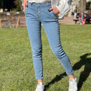 Jeans zip bouton bleu jade et lisa