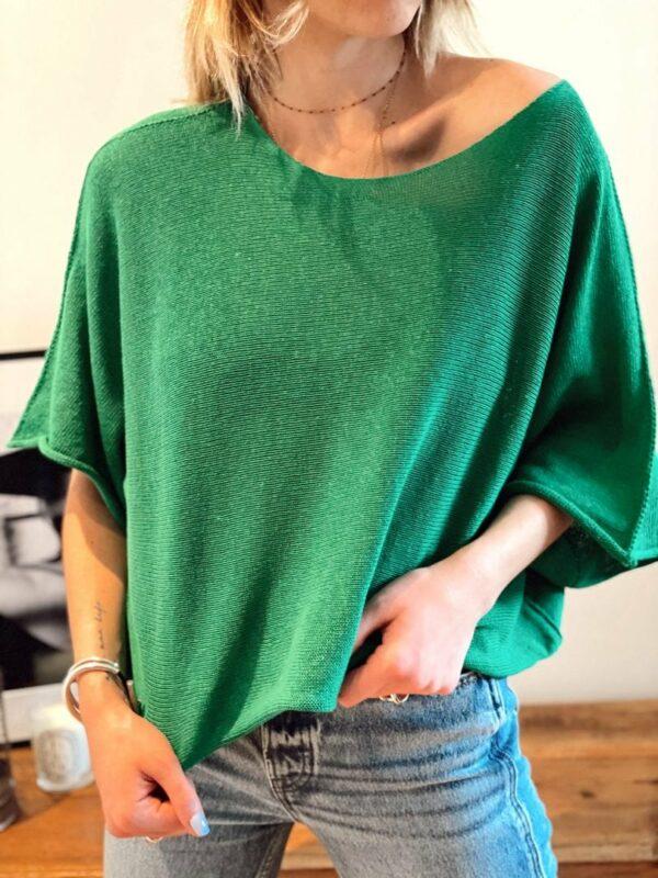 Petit pull fin loose vert jade et lisa