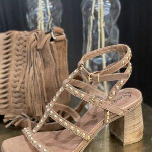 Nu-pieds cloutés à talons SMR Noir, or ou camel - Jade & Lisa