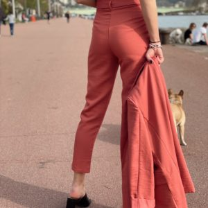Pantalon de tailleurs terracotta jade et lisa