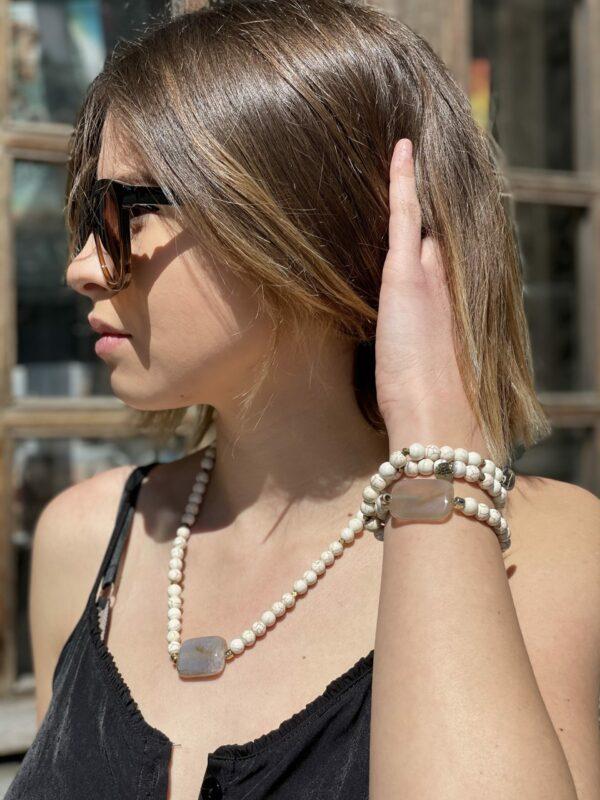 Collier / Bracelet Howlite et Agathe - Jade & Lisa