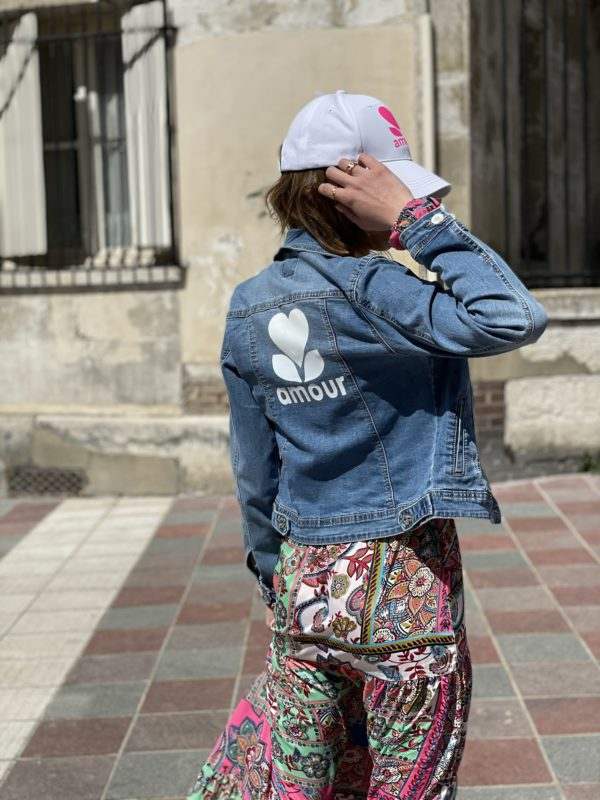 Veste en jeans amour jade et lisa