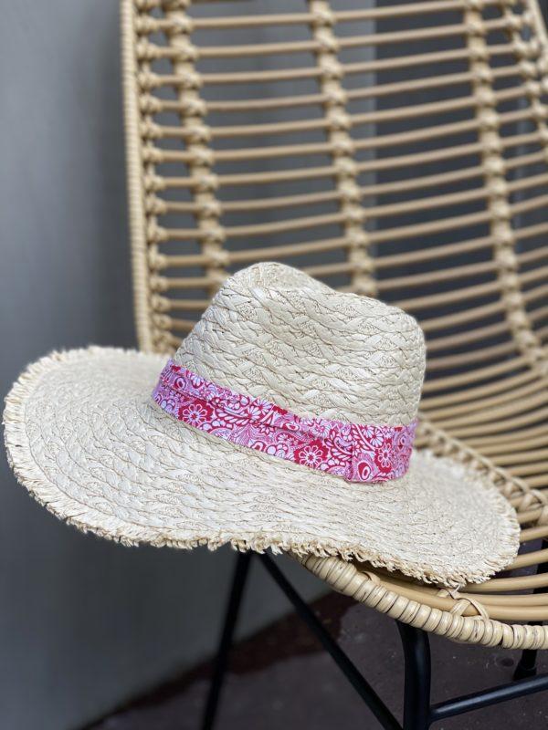 Chapeau de paille bandana rose - Jade & Lisa