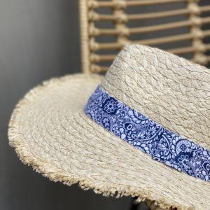 Chapeau de paille bandana bleu - Jade & Lisa