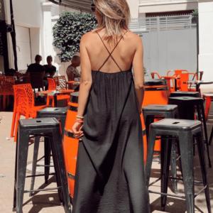 Robe longue noire dos croisé - Jade & Lisa