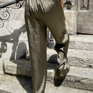 Pantalon satiné James kaki - Jade & Lisa