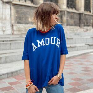 T-shirt amour super loose bleu jade et lisa