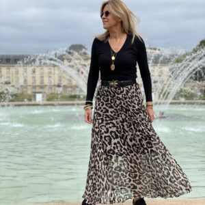 Jupe plissée léopard - Jade & Lisa