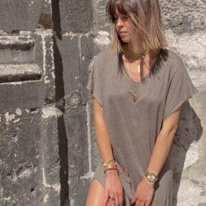 robe t-shirt en lin tape jade et lisa