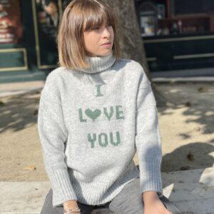 pull I love you gris jade et Lisa