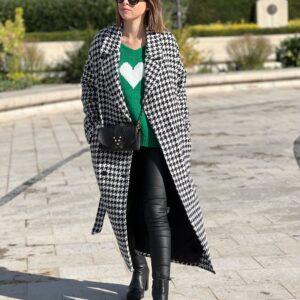 Manteau pied-de-poule noir jade et lisa
